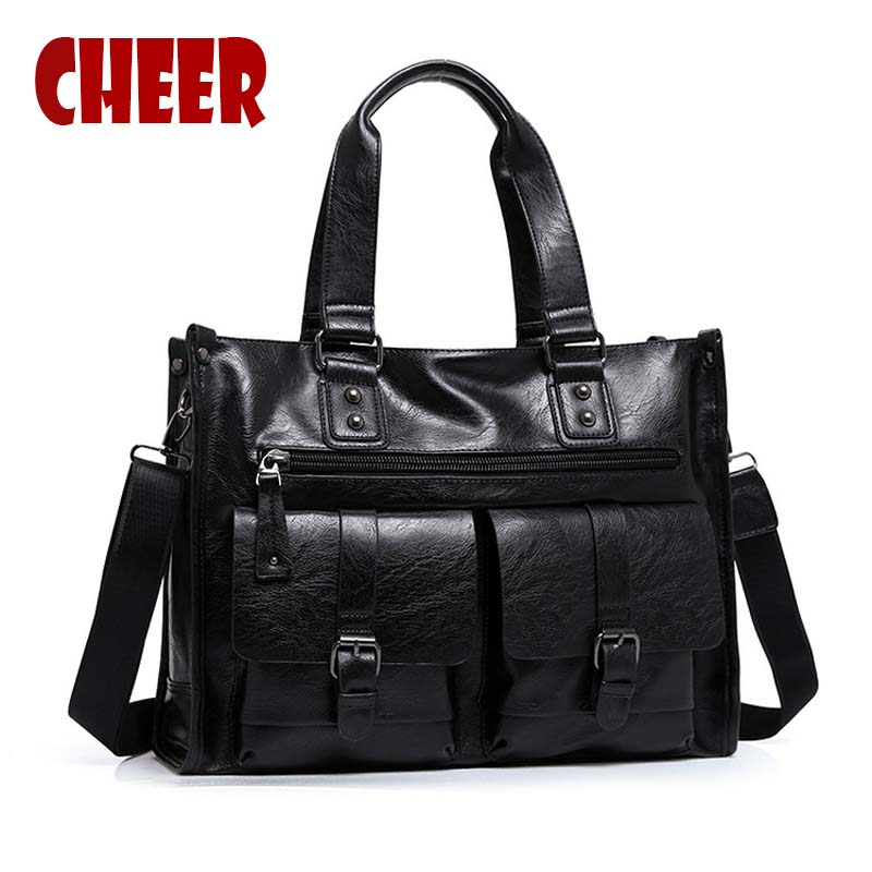 2017 new fashion men bag PU leather handbag Shoulder bag Large capacity Briefcase business bag Laptop bags Designer high quality new high quality male leather men laptop briefcase bag 14 inch computer bags handbag business bag single shoulder business bags