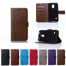 Case For Samsung Galaxy S5 S 5 V SV mini G800 G800F G800H SM-G800F SM-G800H Solid Color Orchid Wallet Flip Phone Leather Cover