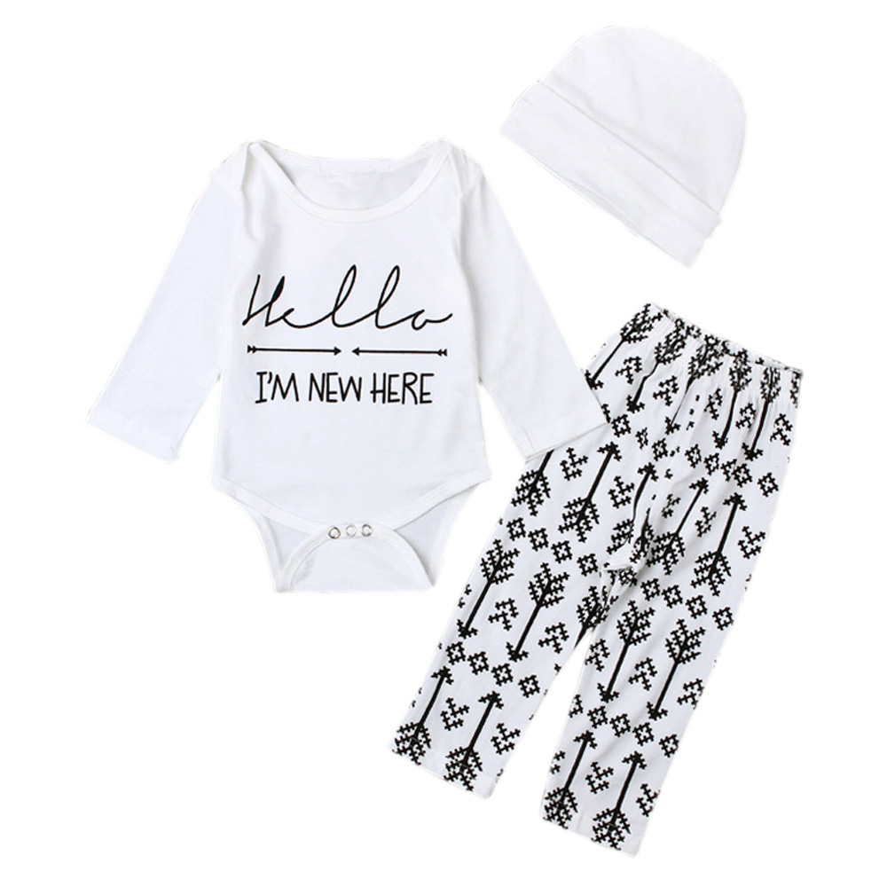 Hello Im New Here Newborn Baby Coming Home Outfits Gender Neutral Boy Girl Long Sleeve Bodysuit + Leggings + Hat Sets YM41TZ