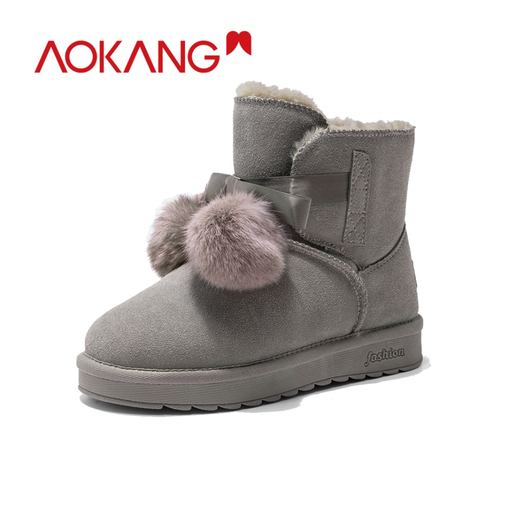 AOKANG Winter Ankle Snow Boots Women Cow Suede women platform winter shoes pom pom style Warm