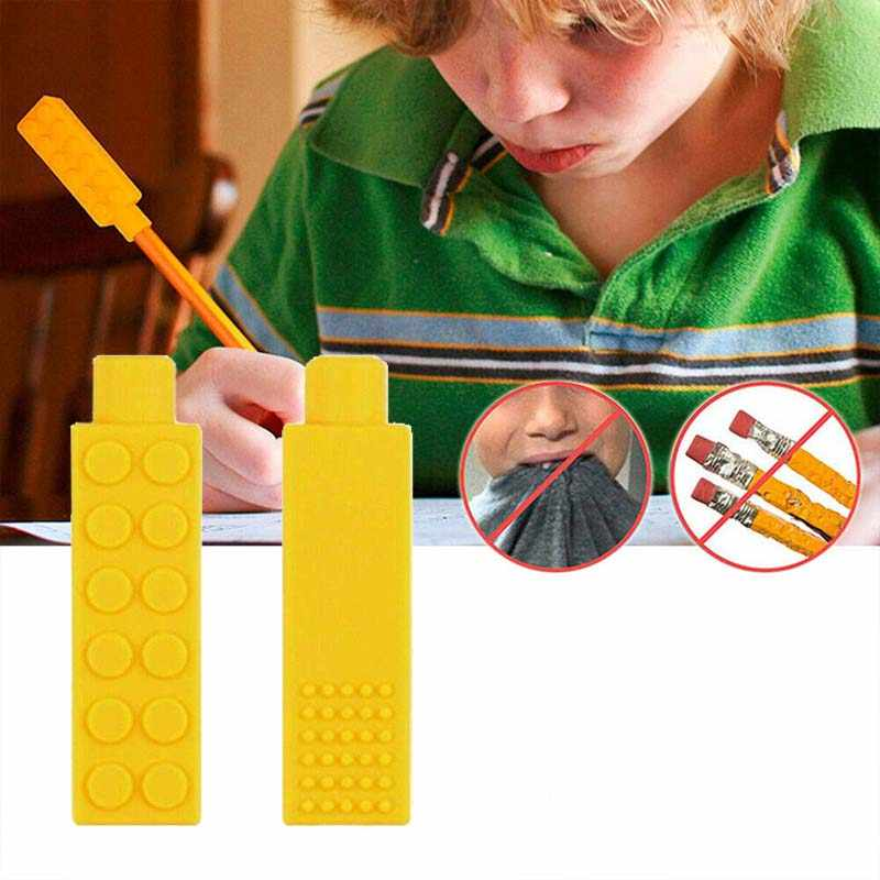 2019 New 1 Pcs Sensory Chewing Necklace Brick Chew Kids Silicone Biting Pencil Topper Baby's Teether Toy High Quality PVC Free