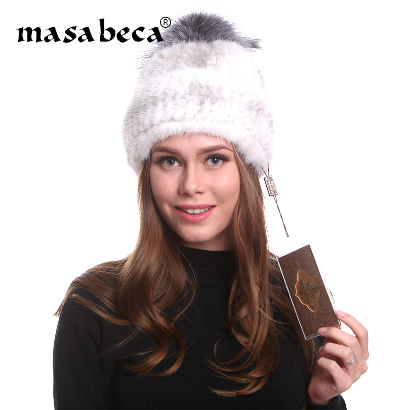 36b5b422fca Mink Real Fur Beanies Winter Warm Fox Fur Hat Ladies Multi Color Designer  Winter Cap Women Brand New Russian Women Winter Caps