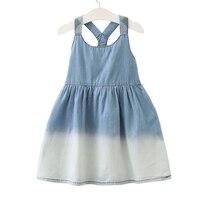 Baby Girls Denim Dress Sleeveless 2018 New Arrival Jean Vest Pleated Dresses Gradient Blue White Girls