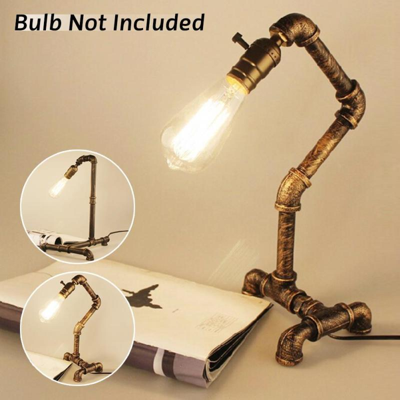 Retro Pipe Water Table Lamp Lights Industrial Retro Desk Edison Bulb Lamps Creative Loft Light for Study Room Bedroom Lampara Z3 fumat table lamps four feet water pipe light loft vintage halogen bulb table lamp american industrial pipe desk lamps for bar