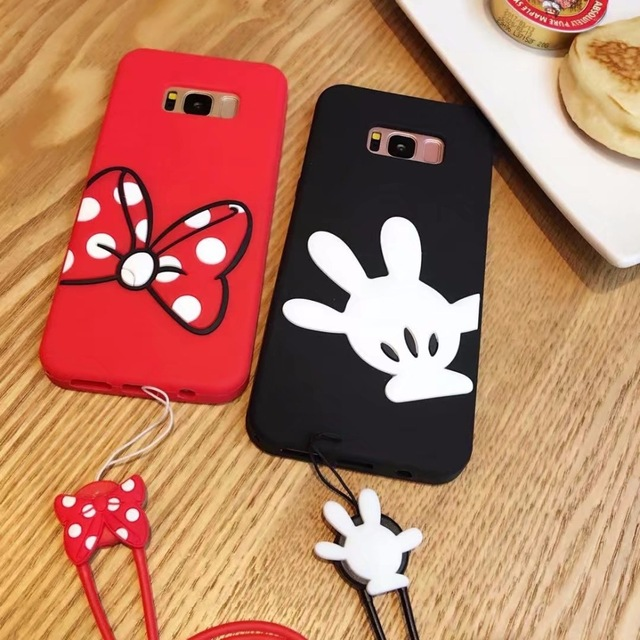 3D cartoon mickey minnie mouse silicone soft gel case cover for samsung galaxy S8 PLUS S7/s6 edge S8plus cases with lanyard J5 J
