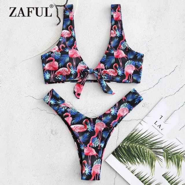 eb58944890a ZAFUL Flamingo Bikini Swimwear Women High Cut Swimsuit Sexy Plunging Neck  Padded Thong Bikini Front Knot Biquni Bathing Suit