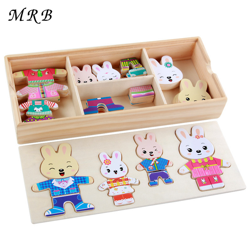 все цены на Wooden Toy Rabbit Change Clothes Puzzles Montessori Educational Dress Changing Jigsaw Puzzle toys for Children gift oyuncak онлайн