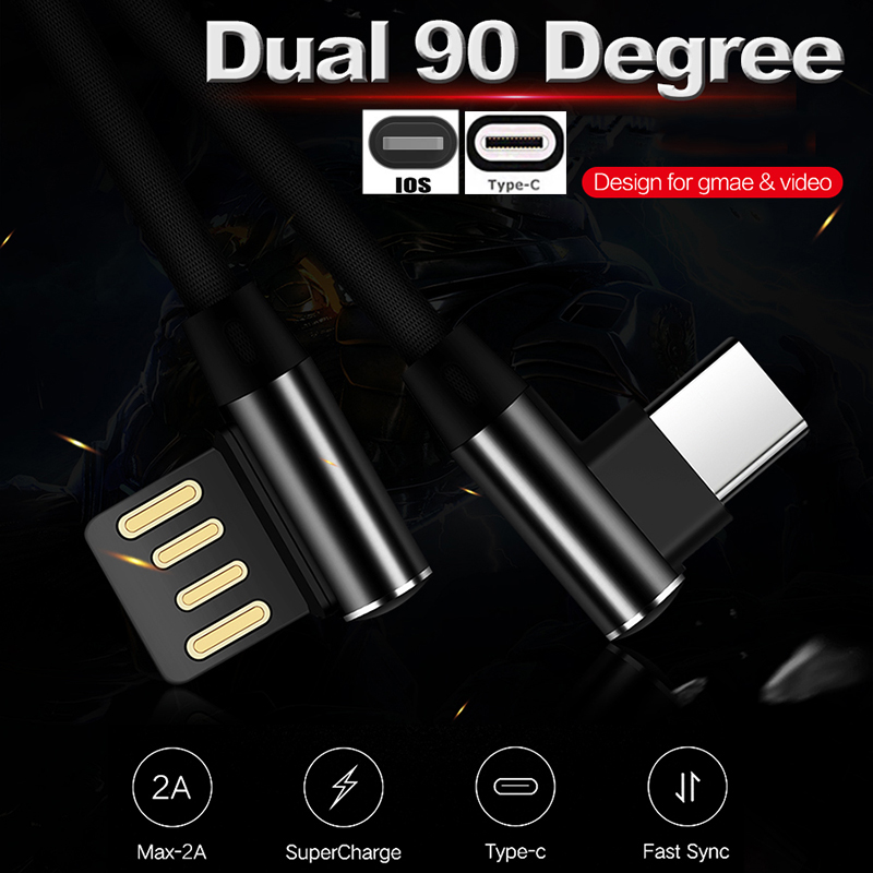 Galleria fotografica 0.3/1/2/3M 90 Degree Dual-Side-USB Game Cable 2A Fast Charger For Samsung S9 S8 For iPhone 8 7 For Oneplus 6 5 Type-c/IOS Cable