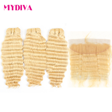 613 Bundles With Frontal Brazilian Deep Wave 3 Bundles With Closure Remy Human Hair Blonde Bundles With Frontal Closure Mydiva