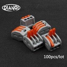100 sztuk PCT 213 PCT213 222 413 uniwersalny kompaktowy przewód złącze do przewodów 3 pinowe złącze zacisk blok dźwigni AWG 28 12