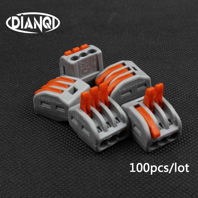 100Pcs PCT 213 PCT213 222 413 Universal Compact Wire Bedrading Connector 3 pin Dirigent Terminal Block Lever AWG 28  12
