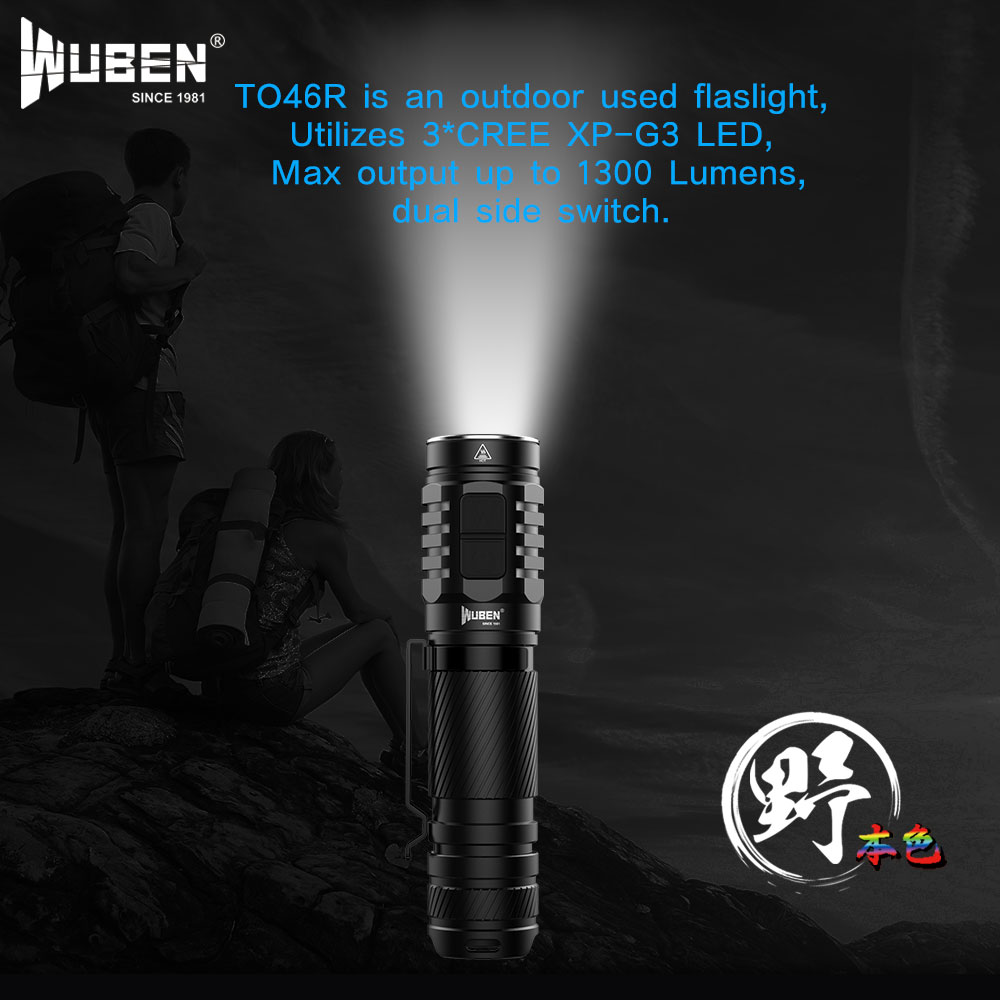 Powerful Tactical LED Flashlight 1300 Lumen Double Side Switch USB Rechargeable 18650 Waterproof IPX8 Torch Cree XP-G3 led Light thrunite th20 led headlamp 520 lumen cree xp l led head flashlight mini edc aa 14500 torch waterproof headlight