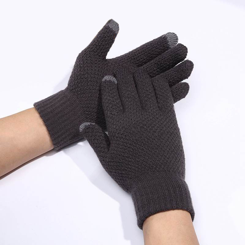 Wool Gloves Touch-Screen Full-Finger-Mittens Warm Autumn Winter Male Thicken Men