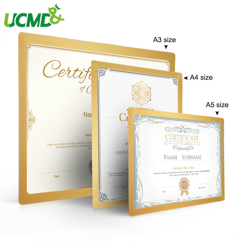 Magnetic Self-adhesive File Poster Photo Frames Sticker Gold A3 A4 A5 Office Picture Photo Certificates Document Frame For Wall