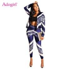 дешево!  Adogirl Цепи с принтом Женщины Спортивный костюм из двух частей молния с длинным рукавом куртки паль Луч