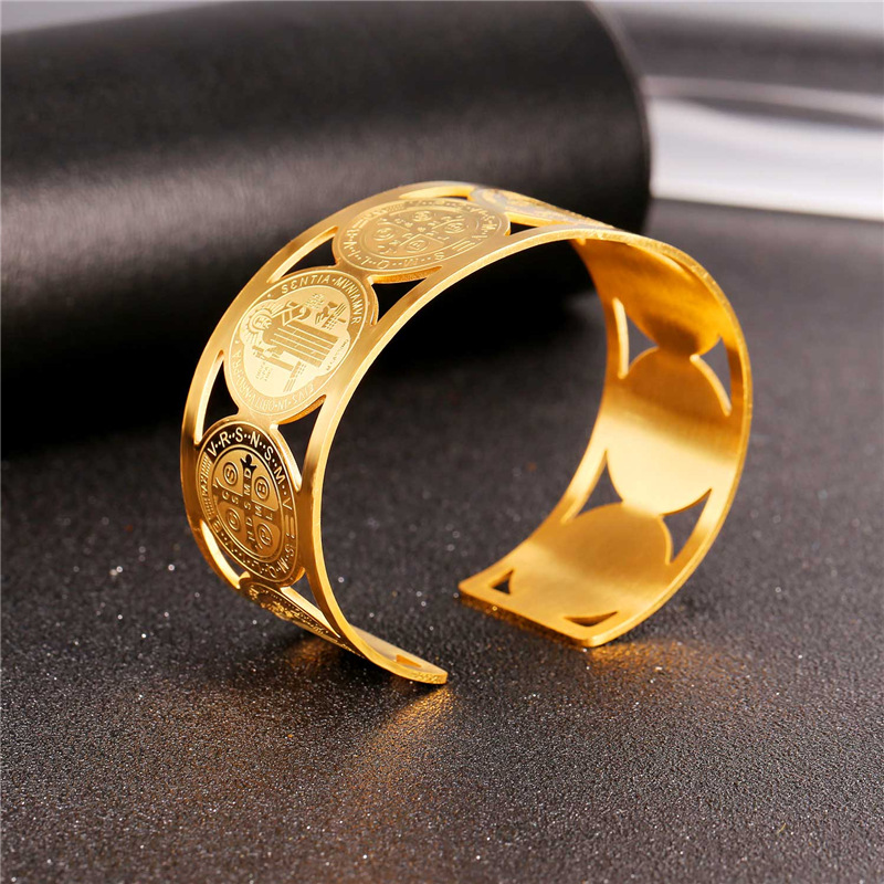 Collare Saint Benedict Medal Bangles 316L Stainless Steel Men Jewelry Gold Color St Benedict Medal Cuff Bracelets Women H162 6
