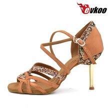 Evkoodance Black brown Purple 8.5cm girls Ladies Zapatos De Baile Latino Latin Salsa Ballroom Dance Shoes For women Evkoo-006