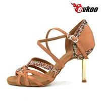 Evkoodance Black brown Purple 8.5cm girls Ladies Zapatos De Baile Latino Latin Salsa Ballroom Dance Shoes For women Evkoo 006