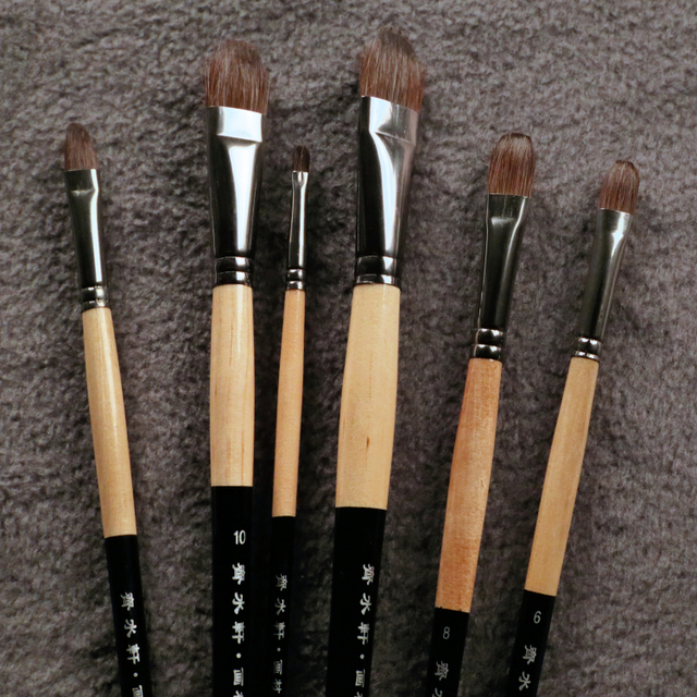 6Pcs/Set Trition Smooth And Soft Squirre Hair Paint Brush For Acrylic,Aquarelle,Oil Painting Art Supplies Brushes For Artist