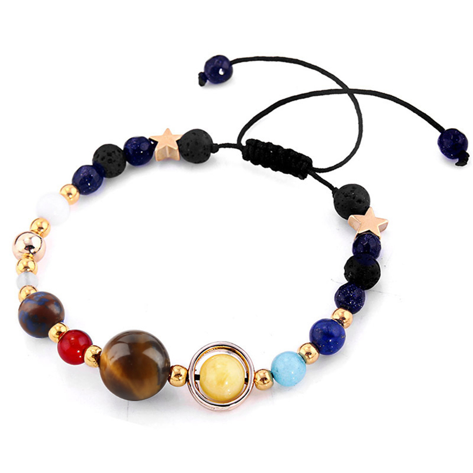 Womens Bracelet Universe Galaxy the Eight Planets Blacelets Coloful Guardian Star Natural Stone Beads Bangle for Gift