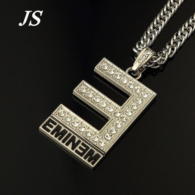 JS Longa Carta Eminem Pingente de Colar De Prata De Ouro Colar de Corrente Hip Hop Rocha Estilo Melhor Rapper HN041