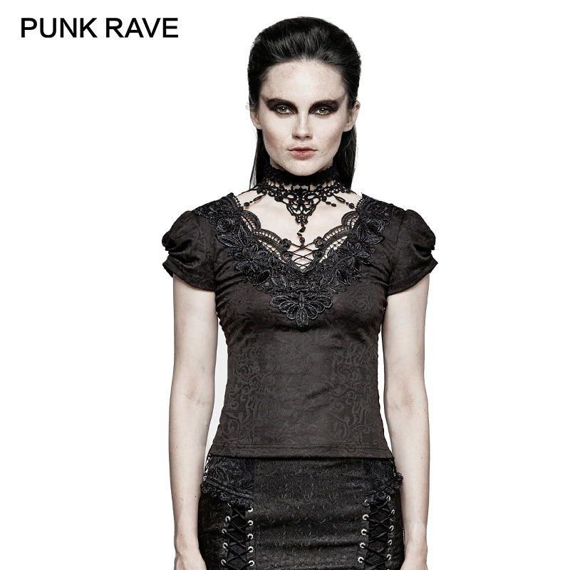 PUNKRAVE Women Gothic Black Lace Blosue High Collar Woman Vintage Steampunk T-shirt Hollowed-out V-neck Short Sleeve Party Shirt