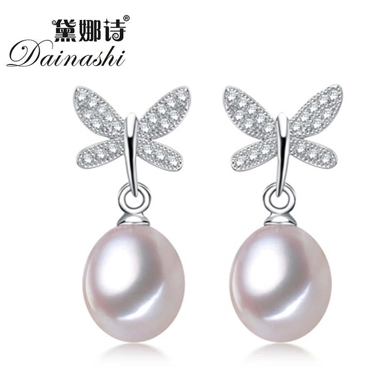 Top Selling 3 Color 100% Cultured Freshwater Pearl Earrings For Women Gift Fashion Jewelry