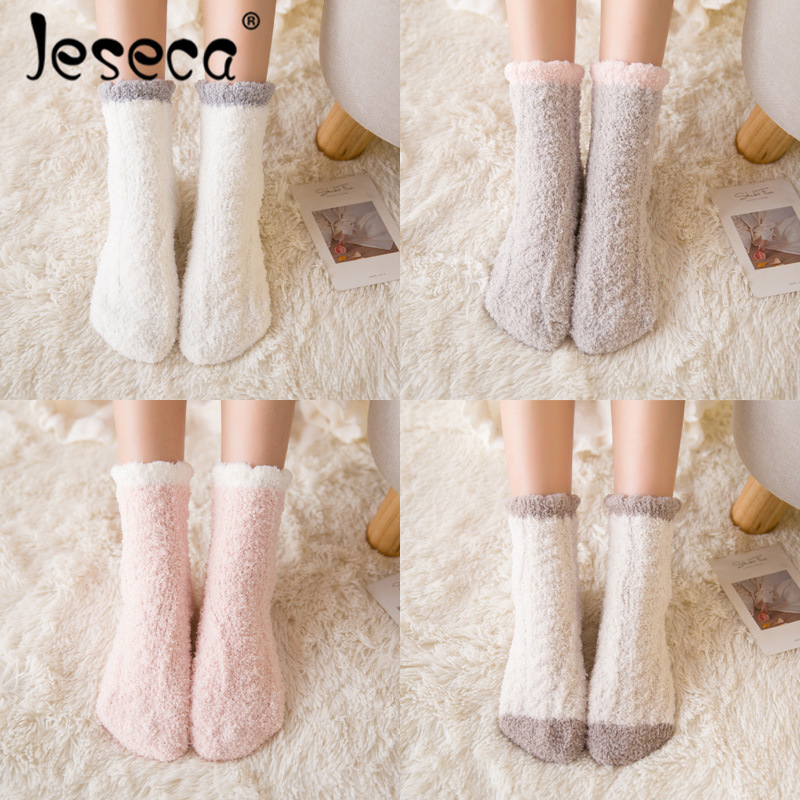 Jeseca Autumn Winter Thicken Warmer Socks For Women Japanese Kawaii Girls Cute Sock Female Ladies Homewear Boots Floor Sleep Sox