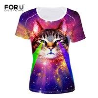 FORUDESIGNS Fancy Galaxy Star Short Sleeve Tshirt For Women Funny Printing Animal Cat Top Tees Casual