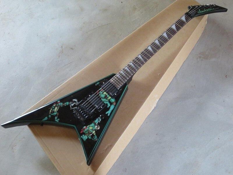 Livraison gratuite nouvelle usine guitare Jackson personnalisé noir volant V adolescent Mutant Ninja tortues guitare électrique 15-9