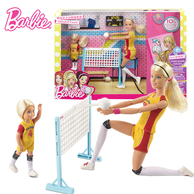 Original Barbie Doll Volleyball Teacher Coach Set Girl Educational Clothes Toy Birthday Gift FRL33 All