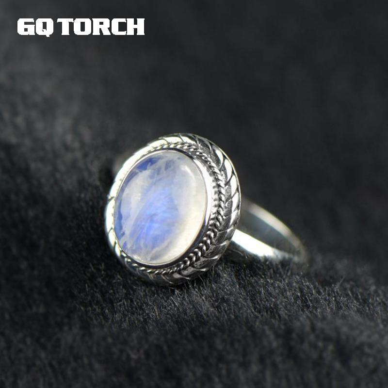 GQTORCH Real Pure 925 Sterling Silver Natural Moonstone Ring Oval Gemstone Vintage Thai Silver Fine Jewelry 925 pure silver jewelry vintage green natural stone thai silver female royal wind ring rich