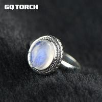 GQTORCH Real Pure 925 Sterling Silver Natural Moonstone Ring Oval Gemstone Vintage Thai Silver Fine Jewelry