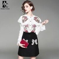 Mulher primavera outono outfit cat bordados de flores blusa de renda branca + beading bow padrão preto mini saia bonito outfit suit conjunto