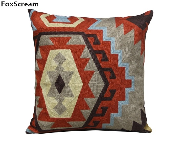 Modern Geometric embroidered pillow case stripe decorative throw pillow grey cushion cover chair seat couch pillow sham for sofa