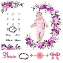 Baby Milestone Blanket Girl Boy Newborn Photography Flannel Flower Baby Monthly Blanket with Floral Wreath Headband for Infant baby milestone blanket newborn photography blanket flannel crawling blanket for baby 0 12 m sleeping bath blanket