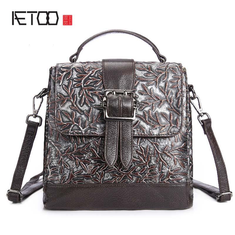 AETOO brand The new leather handbag retro leather simple embossed original color multi purpose hand wiping