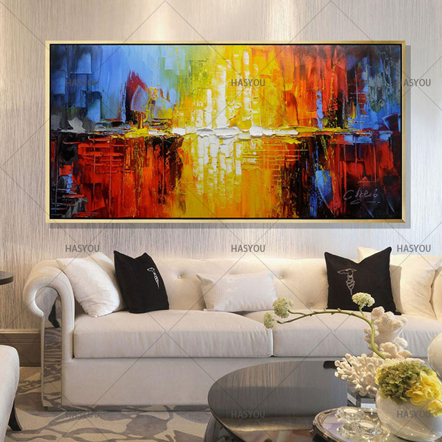 100% Handmade Oil Painting On Canvas Modern Abstract ... on Room Painting id=71970