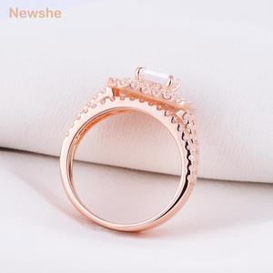 Image 4 - Newshe 2 ชิ้น Rose Gold สีงานแต่งงานชุดแหวนสำหรับผู้หญิง 925 เงินสเตอร์ลิงแหวนหมั้น Princess CUT AAA CZ แฟชั่นเครื่องประดับ