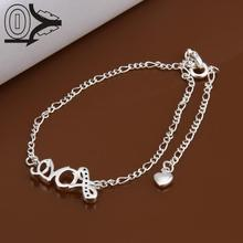 Lose Money!!Wholesale Silver Plated Anklets,Silver Fashion Jewelry,Simple Love Letter With Zircon Stone Anklets