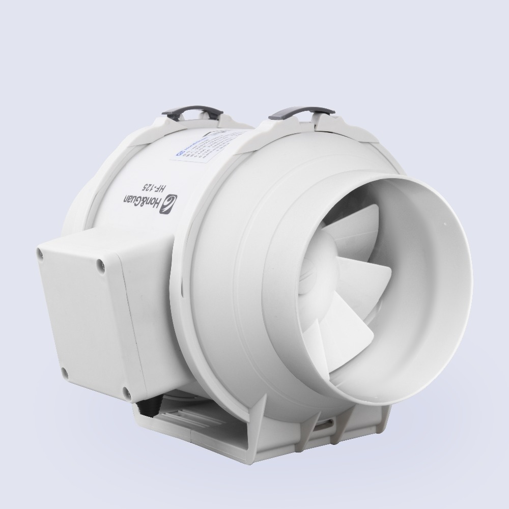 E-EMS Free Shipping 5inch 5Honguan Ventilation System 125mm inline fan HF-125P 110V/220V Mixed Flow InLine Duct Fan exhaust fan orix 24v 1a cross flow ventilation fan mfd915 24a f1