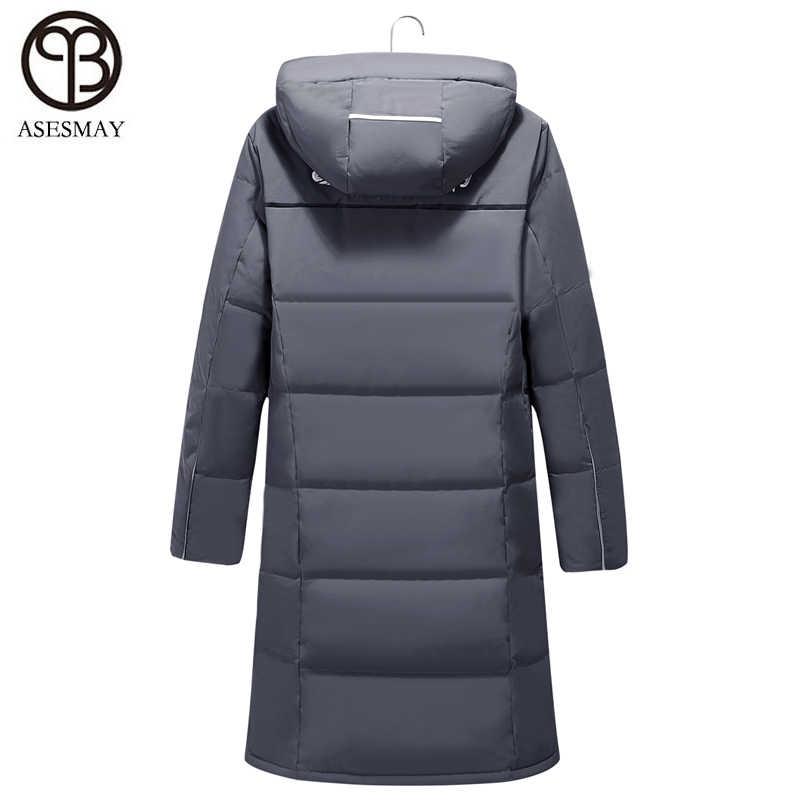 Asesmay 2018 chaqueta para hombre invierno pato abajo grueso cálido X-Largo gris pluma de ganso Parka Wellensteyn abrigos rusos chaqueta de capucha de
