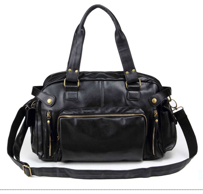 Men Leather Sports Bag Handbags Tote Gym Crossbody Men\'S Travel Shoulder Bags Briefcase Vintage Messenger Bag