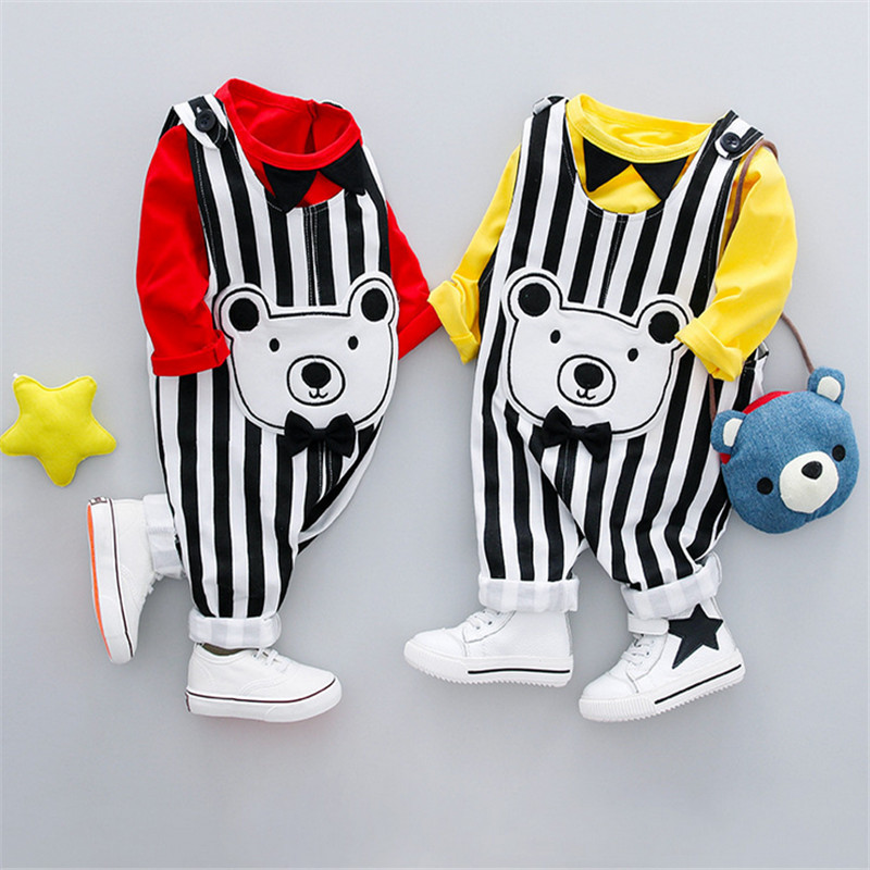 2PCS Baby Boys Suits Child Stripped Long Pants Solid Bow Tee Tops Bear Clothes Clothing Set Kids Cotton Overall+TShirts 6-12M