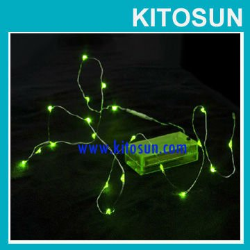 China Wholesale CR2032 Coin Battery operated green color Led Rope String Fairy Lights For Christmas Decoration