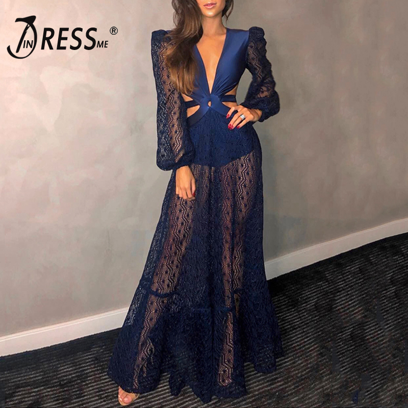 INDRESSME 2019 New Vestidos Women Sexy Deep V Neck Long Lace Sleeve Backless Hollow Out Lace