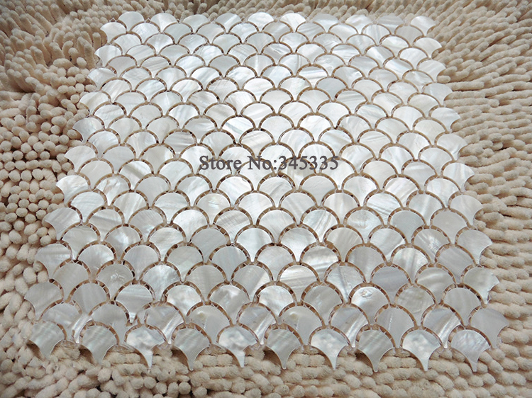 Fish Scale Pure White Shell Mosaic Tile Fan Mother Of Pearl Wall Kitchen Backsplash Wallpaper Background Wall Mosaic Tiles