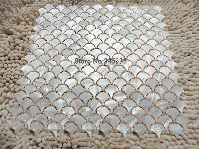 Kitchen Tile Background fish scale pure white shell mosaic tile fan mother of pearl wall