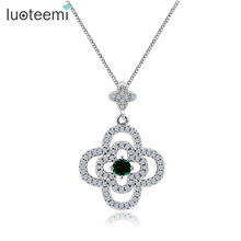 LUOTEEMI Girls Fully Tiny CZ Paved Lucky Clover Flower Pendant Necklaces For Women Wholesale White Gold