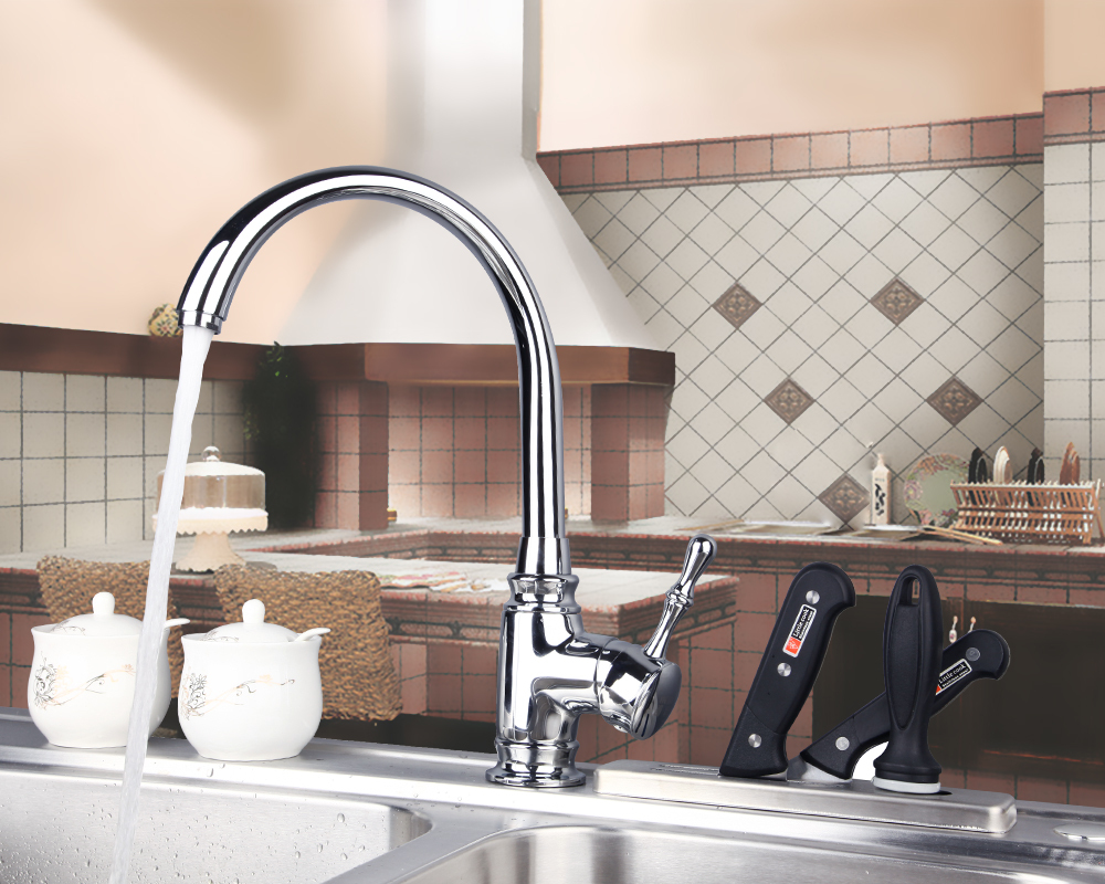 8492 Construction Real Estate Single Hole Chrome Finished Swivel Kitchen Sink Basin Mixer Sink Tap Faucets